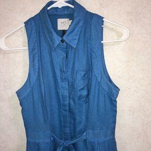 Anthropologie Dresses - HD in Paris Printemps Linen Shirt Dress Blue sz 0